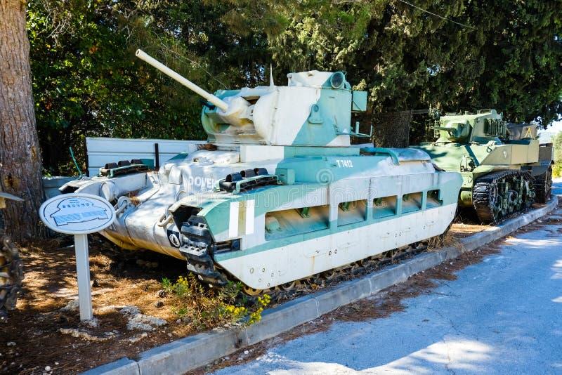 Matilda british tank. Israeli Armored Corps Museum at Latrun royalty free stock photos