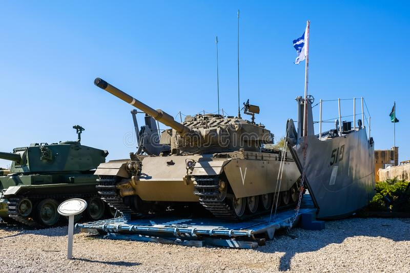 Shot cal israeli tank on vehicle landing craft ramp. Israeli Armored Corps Museum at Latrun stock photos