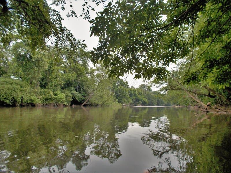 Yadkinrivier dichtbij winston-Salem, Noord-Carolina stock foto's