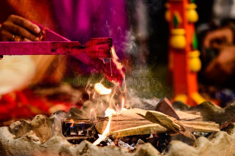 Yagya um ritual no hinduism imagem de stock