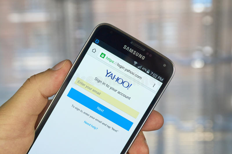 Yahoo application on android smartphone. MONTREAL, CANADA - MARCH 20, 2016 - Yahoo application on android smartphone. Yaho is is an American multinational stock photos