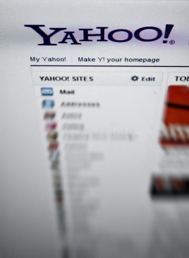 Yahoo.com main page internet screen royalty free stock images