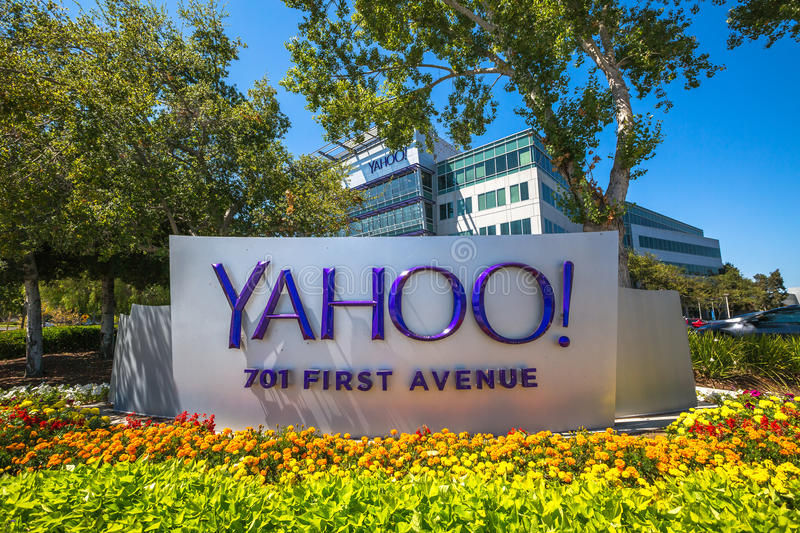 Yahoo Icon Sunnyvale. Sunnyvale, CA, United States - August 15, 2016: Yahoo icon outside Yahoo Headquarters. Yahoo is a company providing internet services stock photo