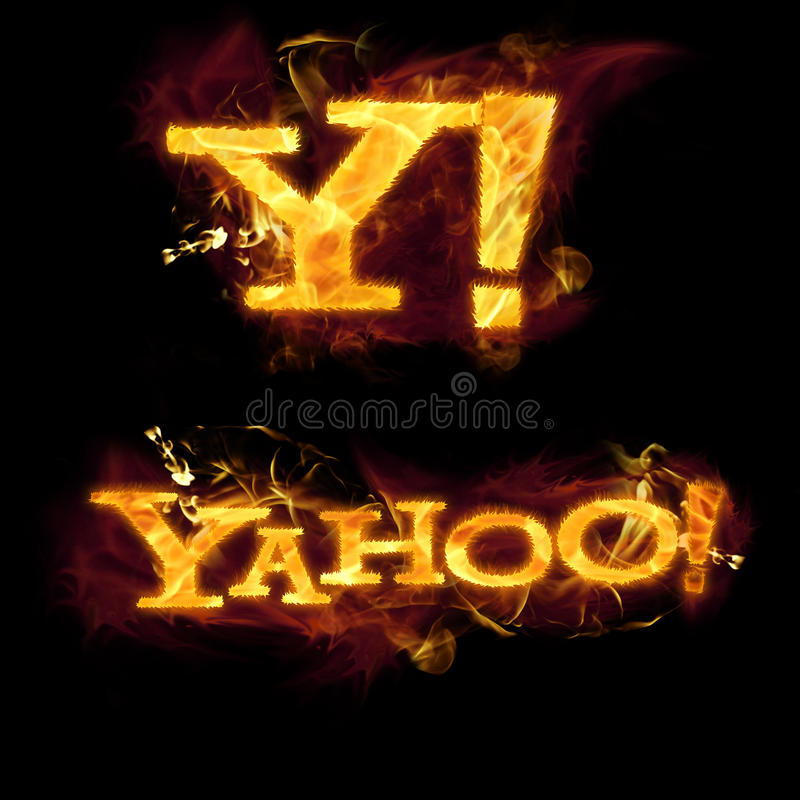 Yahoo logo na ogieniu ilustracja wektor