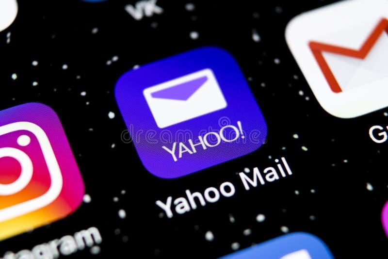 Yahoo Mail-Anwendungsikone auf Apple-iPhone X Smartphone-Schirmnahaufnahme Yahoo verschicken APP-Ikone Dieses ist eine 3D übertra stockfoto