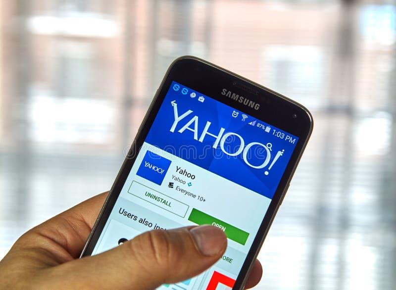 Yahoo mobil app arkivbilder