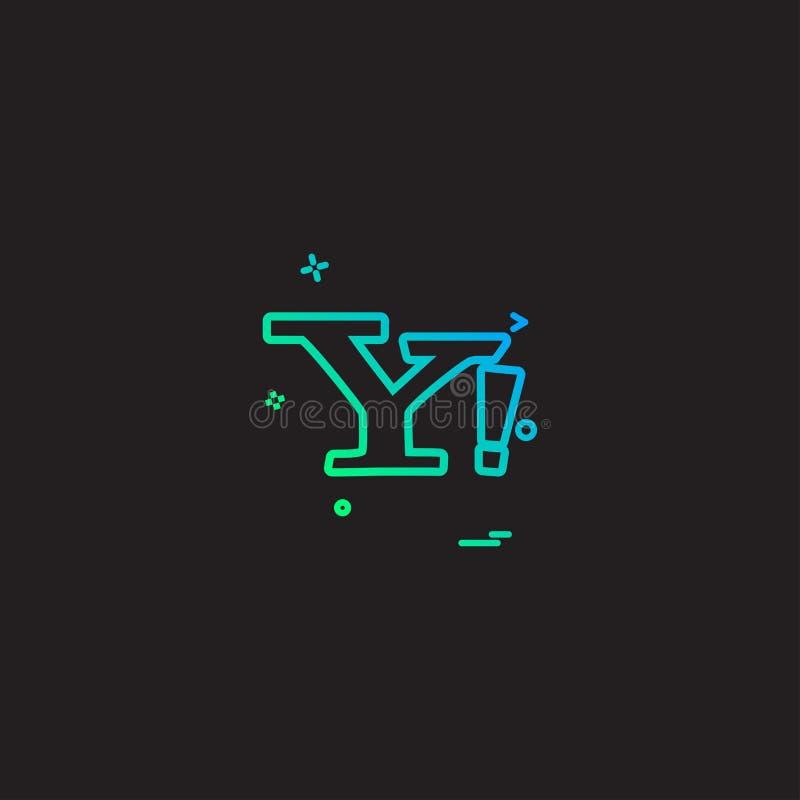 Yahoo poczta ikony projekta wektor ilustracji