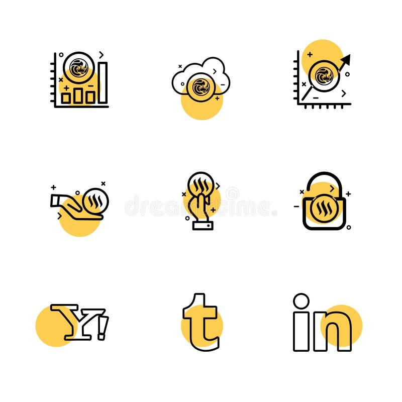 yahoo, tumblr, linkedin, ogniwo, nxs, crypto, waluta, cr ilustracja wektor