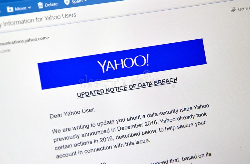 Yahoo updated Notice of newly discovered data breach. MONTREAL, CANADA - OCTOBER 9, 2017 : Yahoo updated Notice of data breach on a laptop. Yahoo is a web stock photos
