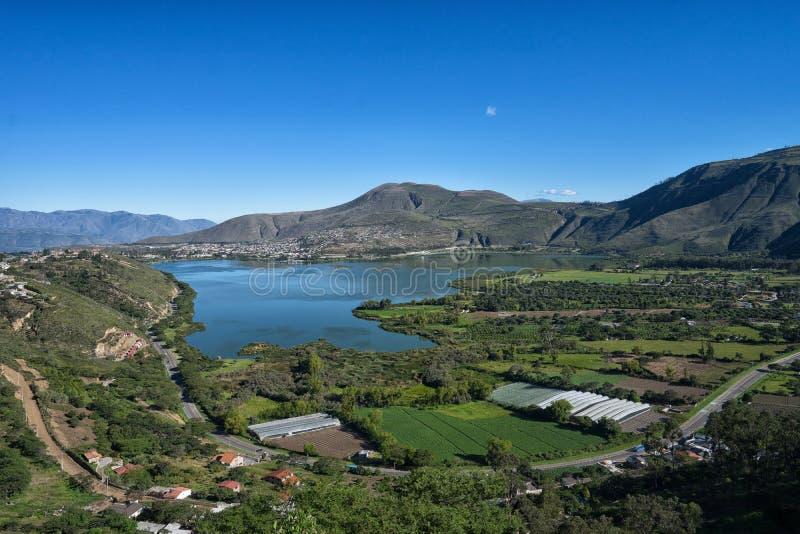 The Yahuarcocha lake in Ecuador. The Yahuarcocha Lake seen from above in Ibarra Ecuador royalty free stock photography