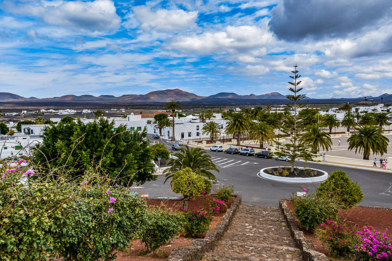 Yaiza, a picturesque small village on Lanzarote island in Timanfaya national park royalty free stock image