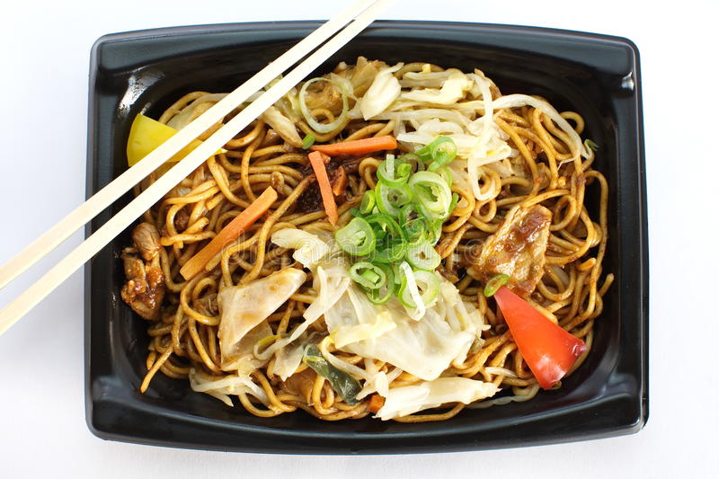Yakisoba, japanese stir-fried noodles. In lunch box royalty free stock photos