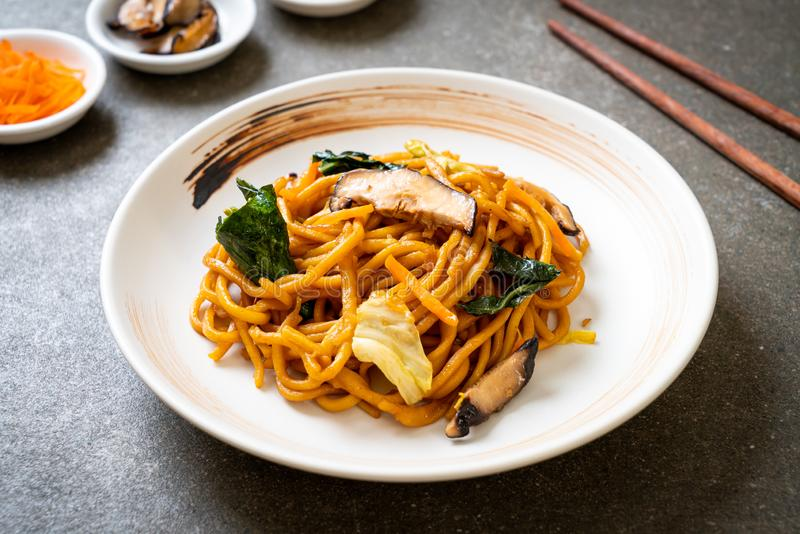 yakisoba noodles stir-fried with vegetable in asian style - vegan and vegetarian food stock photos