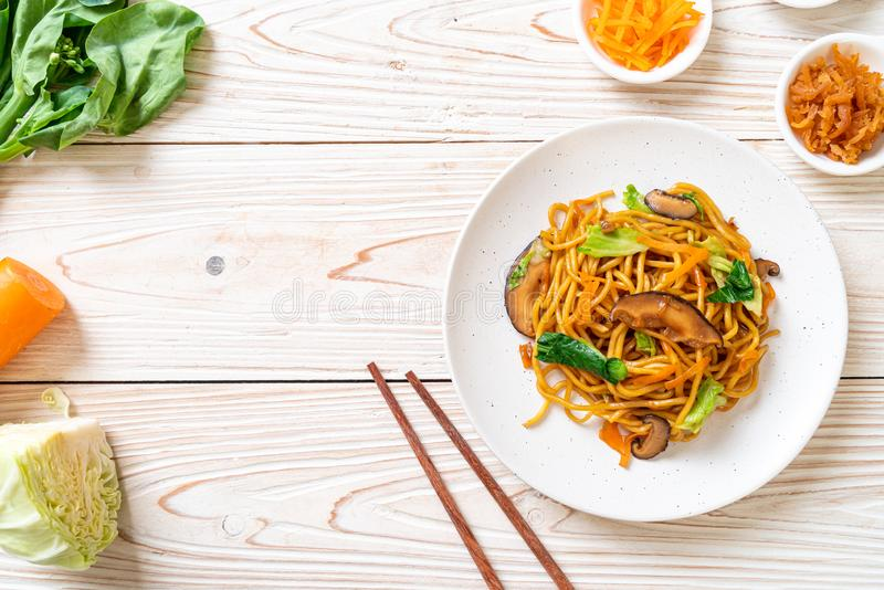 yakisoba noodles stir-fried with vegetable in asian style - vegan and vegetarian food stock photography