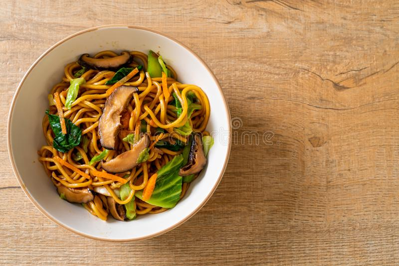 yakisoba noodles stir-fried with vegetable in asian style - vegan and vegetarian food royalty free stock photography