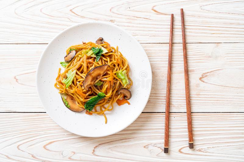 yakisoba noodles stir-fried with vegetable in asian style - vegan and vegetarian food royalty free stock image