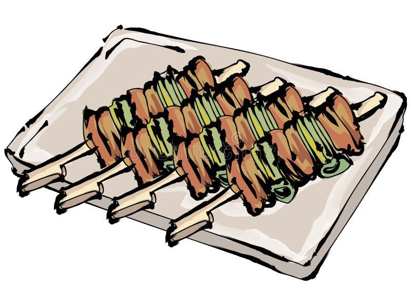 Yakitori e galinha, pintura da escova ilustração do vetor
