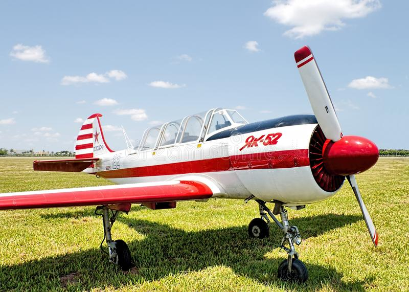 Yakolev YAK 52. Russian Yakolev YAK 52 Trainer Airplane parked in Tamiami Airport, Miami, FL royalty free stock images