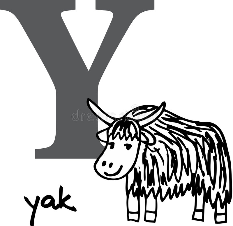 yaks animaux de l'alphabet y illustration de vecteur