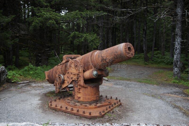 Yakutat Alaska Rusty World War Two Cannon photos libres de droits