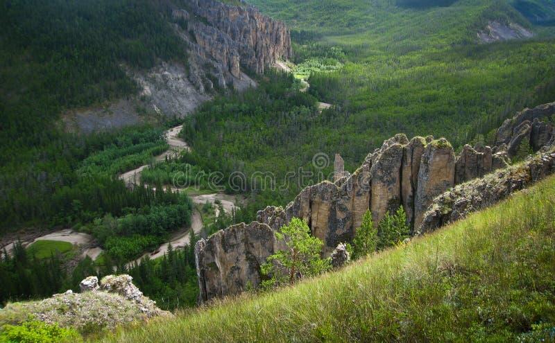 Yakutia, wild berglandschap royalty-vrije stock afbeeldingen