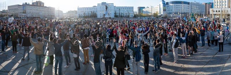 Yakutsk, Γιακουτία/Ρωσία 21 Μαΐου 2019: Εορτασμός ενός σημαντικού γεγονότος - ο συνυπολογισμός οκτώ περιοχών του Γιακουτία στο Ar στοκ φωτογραφία