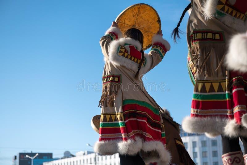 Yakutsk, Yakutia/Rusland 21 Mei 2019: Viering van een significante gebeurtenis - de opneming van acht districten van Yakutia in A royalty-vrije stock foto