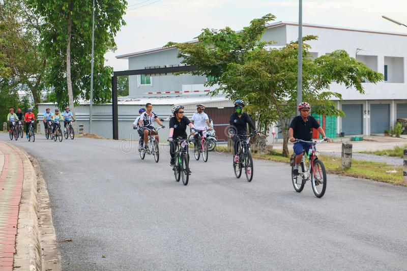 YALA, THAILAND - FEBRUARY 20, 2018: Cyclists from different teams competing for a Ride Bicycle for Health Exercise. It is a free, stock photography