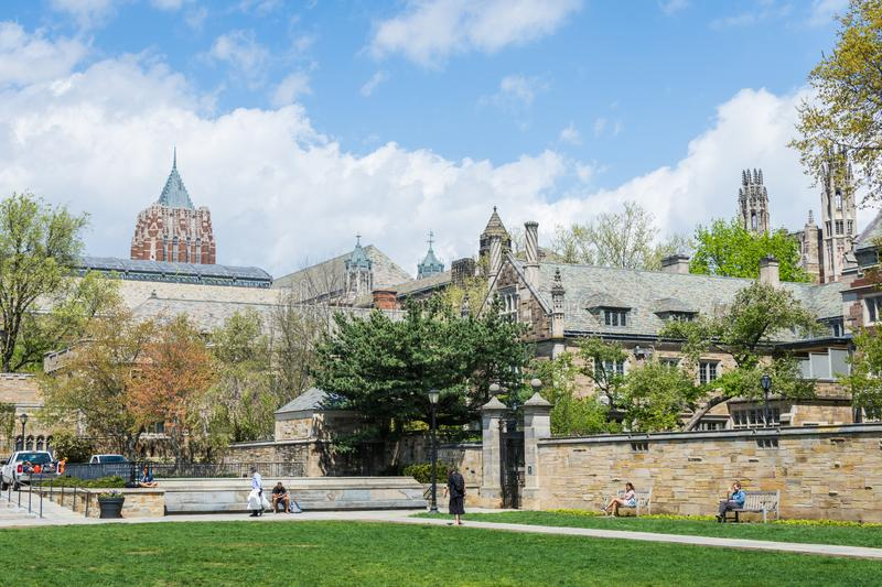 Yale University i New Haven Connecticut fotografering för bildbyråer