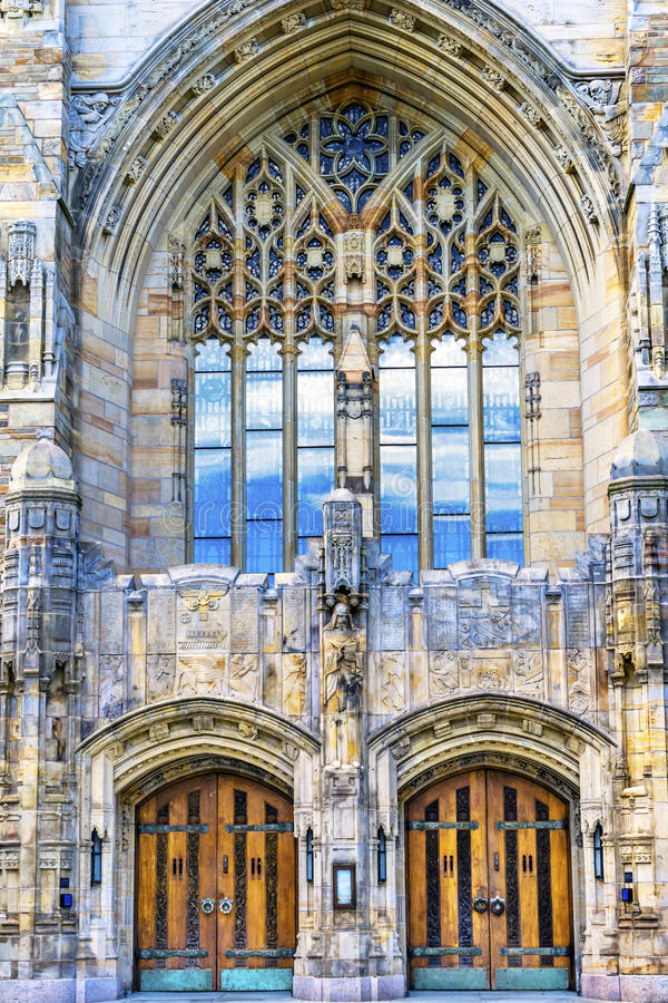 Yale University Sterling Memorial Library New Haven Connecticut. Statue Sculpture Door Yale University Sterling Memorial Library Statue New Haven Connecticut royalty free stock image