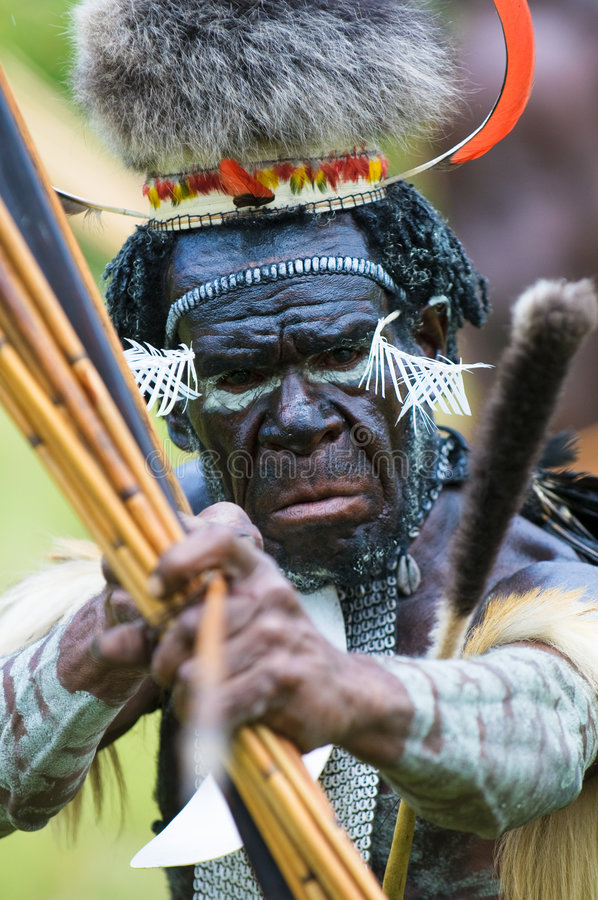 Yali Mabel, leider van Dani stam, Papoea, Indonesië royalty-vrije stock foto's