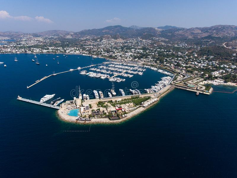 Yalikavak Bodrum marina. An aerial view of Bodrum coastline with Yalikavak marina stock photos