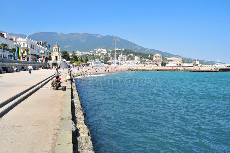Yalta, Ουκρανία, άποψη σε έναν περίπατο κατά μήκος της παραλίας στοκ εικόνες με δικαίωμα ελεύθερης χρήσης