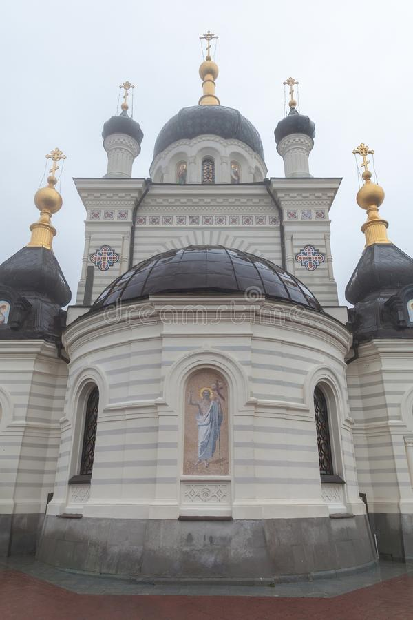 Church of Christs Resurrection exterior, Yalta, Crimea. Yalta, Crimea - March 26, 2017:  Church of Christs Resurrection at foggy spring day stock images
