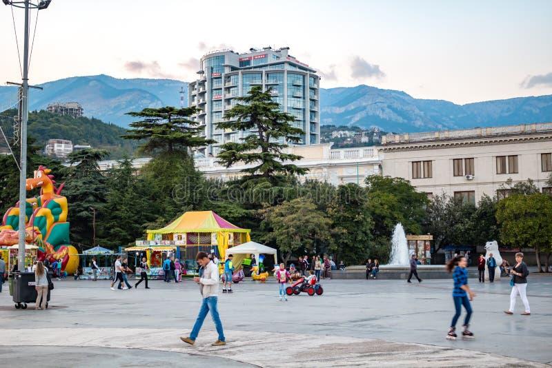 YALTA, CRIMEA - SEPTEMBER: 2014: Embankment `Lenin` in Yalta royalty free stock photos