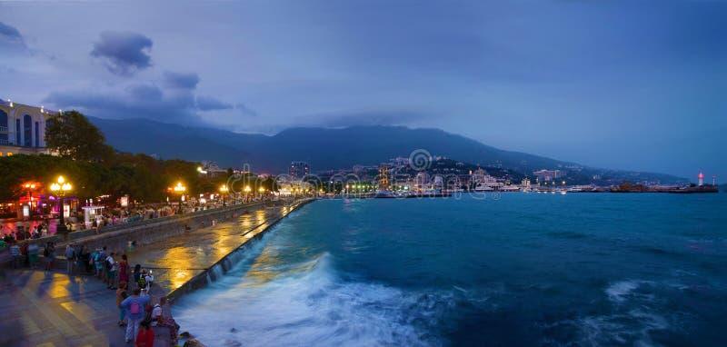 Yalta, Crimea. View on embankment at twilight, night. Cityscape royalty free stock photos