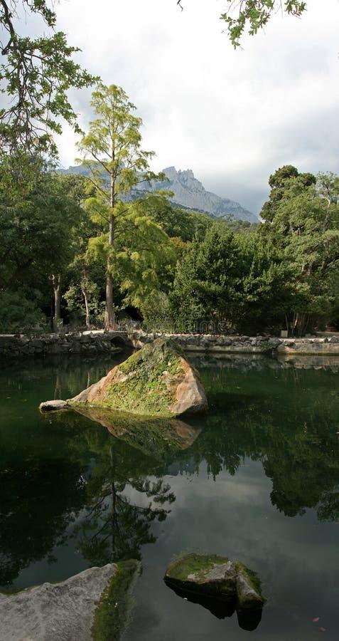 Yalta, de Krim De Botanische tuin van Nikitsky stock foto's