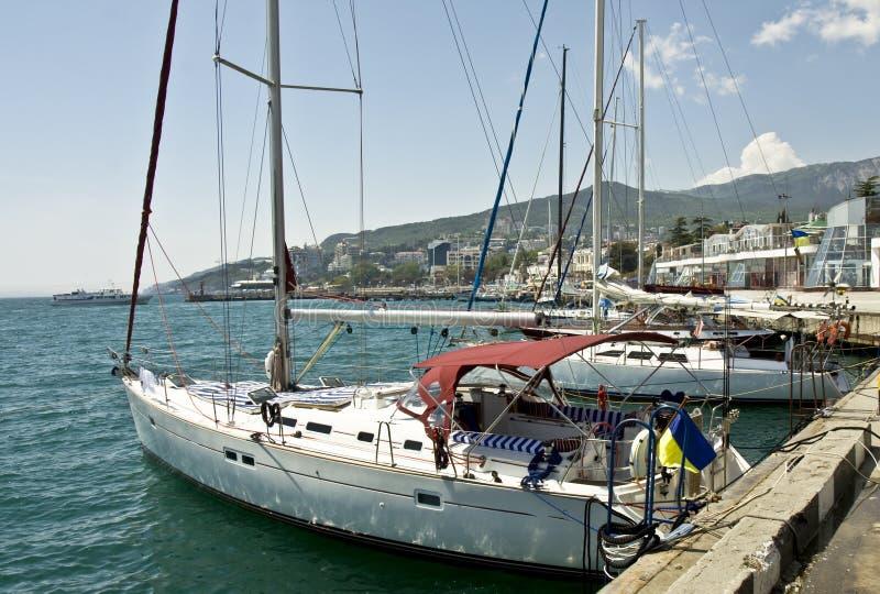 Yalta, yachts stock photos