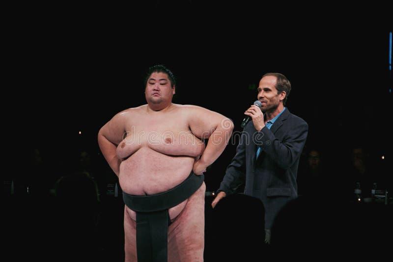 Yama alla manifestazione lottante dei sushi di sumo al teatro di WaMu fotografie stock