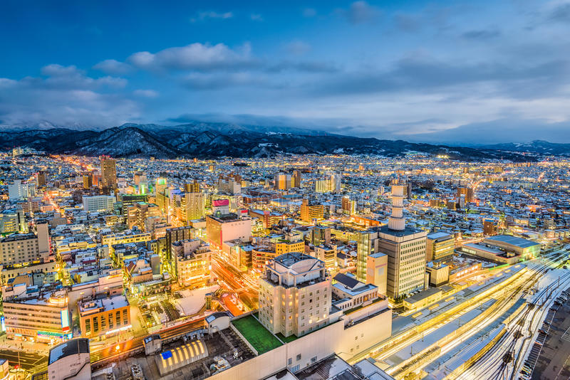 Yamagata, de Horizon van Japan stock foto's