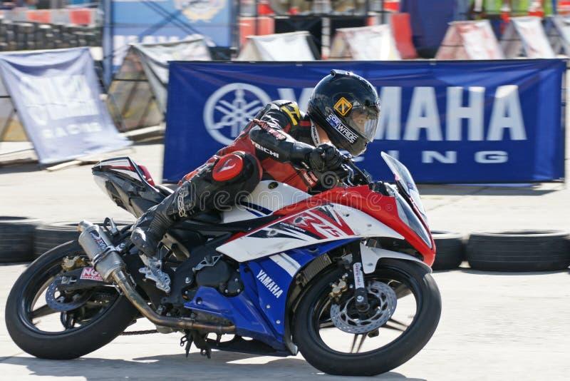 Yamaha moped Racing på Thailand royaltyfria foton