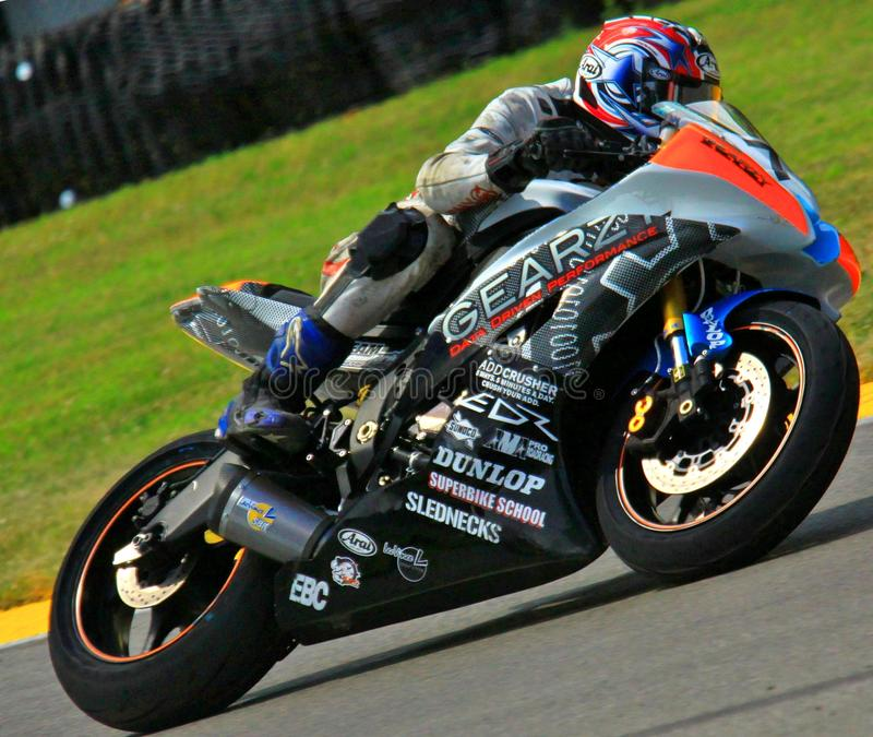 Yamaha pro bike. Josh Galster races the course on his Yamaha YZF-R6 super bike stock images