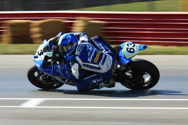 Yamaha pro bike. Rider Devon McDonough races the Yamaha pro bike for Motorcycle superstore racing team stock image