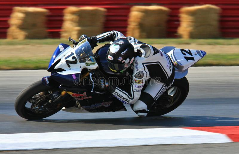 Yamaha super bike. Thomas Puerta races the Yamaha super motorcycle for Road Race Factory team stock photography