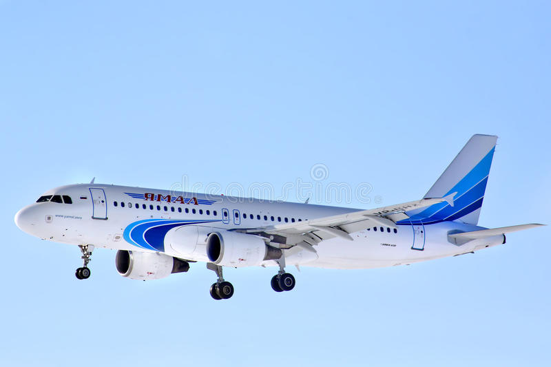 Yamal Airlines Airbus A320. NOVYY URENGOY - MARCH 17, 2013: Yamal Airlines Airbus A320 arrives at Novyy Urengoy International Airport, Russia stock image