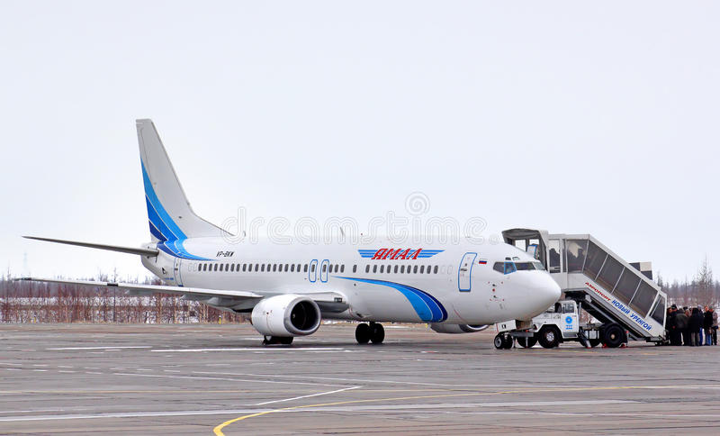 Yamal Airlines Boeing 737. NOVYY URENGOY, RUSSIA - MAY 1, 2013: Yamal Airlines Boeing 737 at Novyy Urengoy International Airport royalty free stock photography