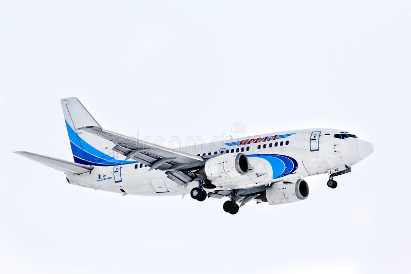 Yamal Airlines Boeing 737. NOVYY URENGOY, RUSSIA - MARCH 13, 2014: Yamal Airlines Boeing 737 arrives at the Novyy Urengoy International Airport stock images