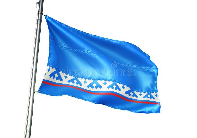 Yamal Nenets autonom områdesregion av att vinka för Ryssland flagga som isoleras på den realistiska illustrationen 3d för vit bak vektor illustrationer