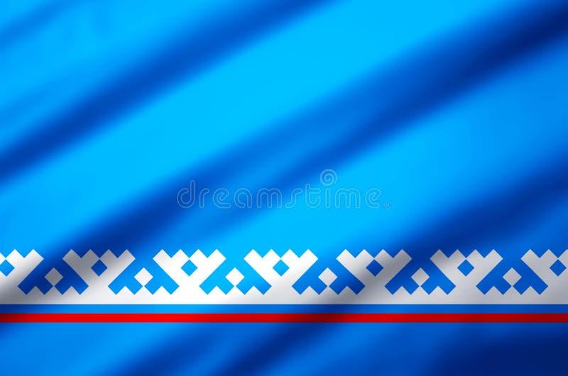 Yamal-Nenets de Autonome illustratie van de Districts realistische vlag stock illustratie