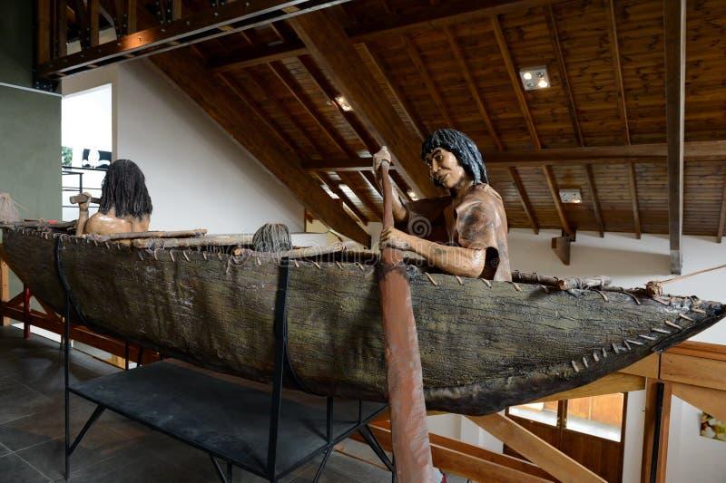 Yamana indianów plemię przy muzeum park narodowy Tierra Del Fuego fotografia royalty free